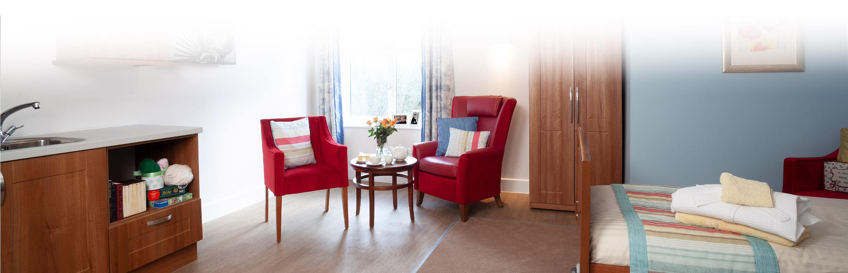 Bedroom red chairs at Cedar View Care Centre Croydon